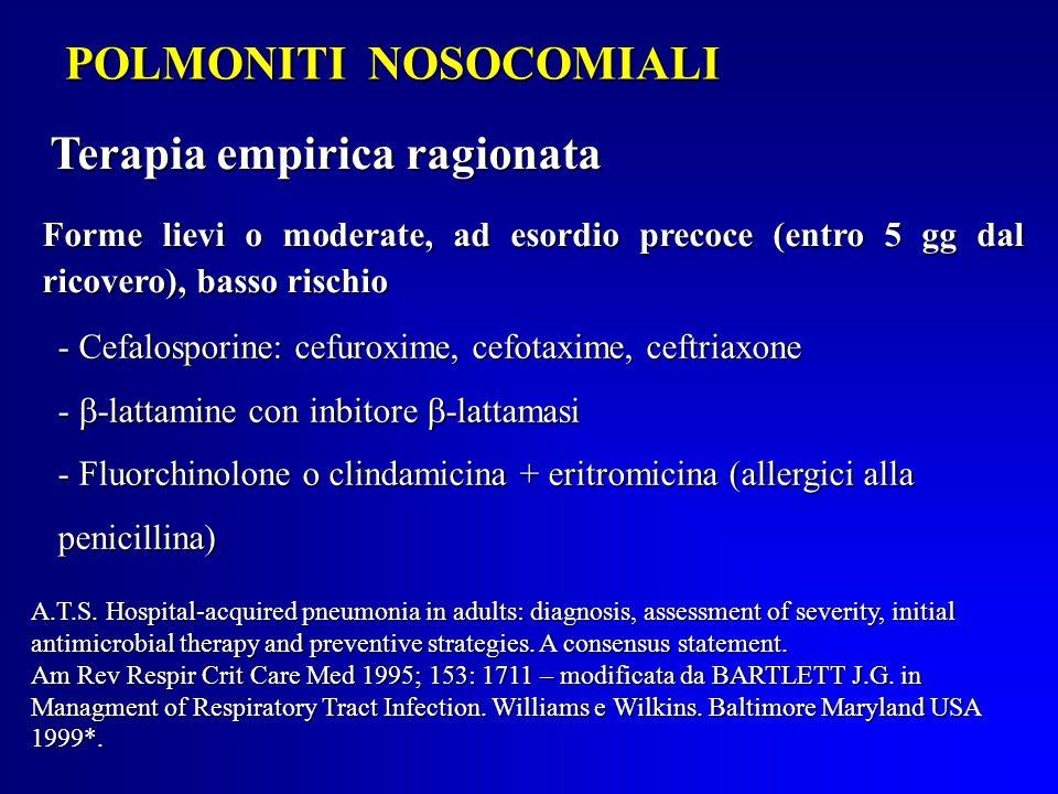 POLMONITI NOSOCOMIALI Forme lievi o moderate, ad esordio precoce (entro 5 gg dal ricovero), basso rischio - Cefalosporine: cefuroxime, cefotaxime, ceftriaxone -  -lattamine con inbitore  -lattamasi - Fluorchinolone o clindamicina + eritromicina (allergici alla penicillina) A.T.S.
