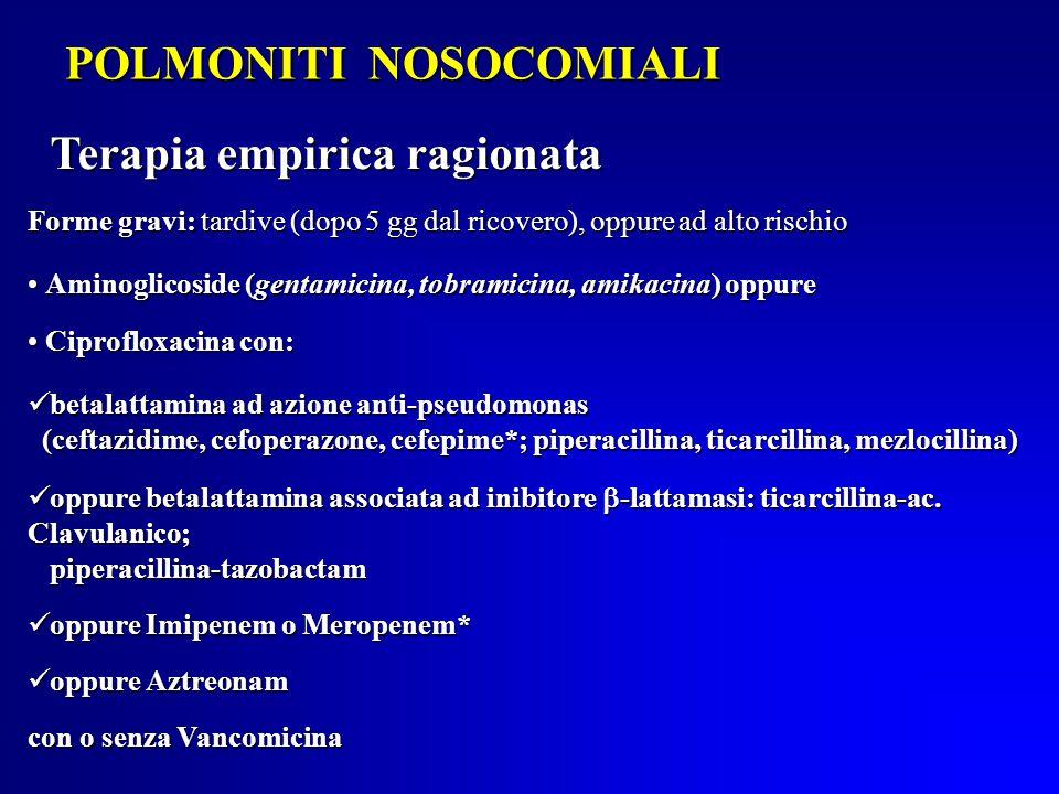 POLMONITI NOSOCOMIALI Forme gravi: tardive (dopo 5 gg dal ricovero), oppure ad alto rischio Aminoglicoside (gentamicina, tobramicina, amikacina) oppure Aminoglicoside (gentamicina, tobramicina, amikacina) oppure Ciprofloxacina con: Ciprofloxacina con: betalattamina ad azione anti-pseudomonas betalattamina ad azione anti-pseudomonas (ceftazidime, cefoperazone, cefepime*; piperacillina, ticarcillina, mezlocillina) (ceftazidime, cefoperazone, cefepime*; piperacillina, ticarcillina, mezlocillina) oppure betalattamina associata ad inibitore  -lattamasi: ticarcillina-ac.