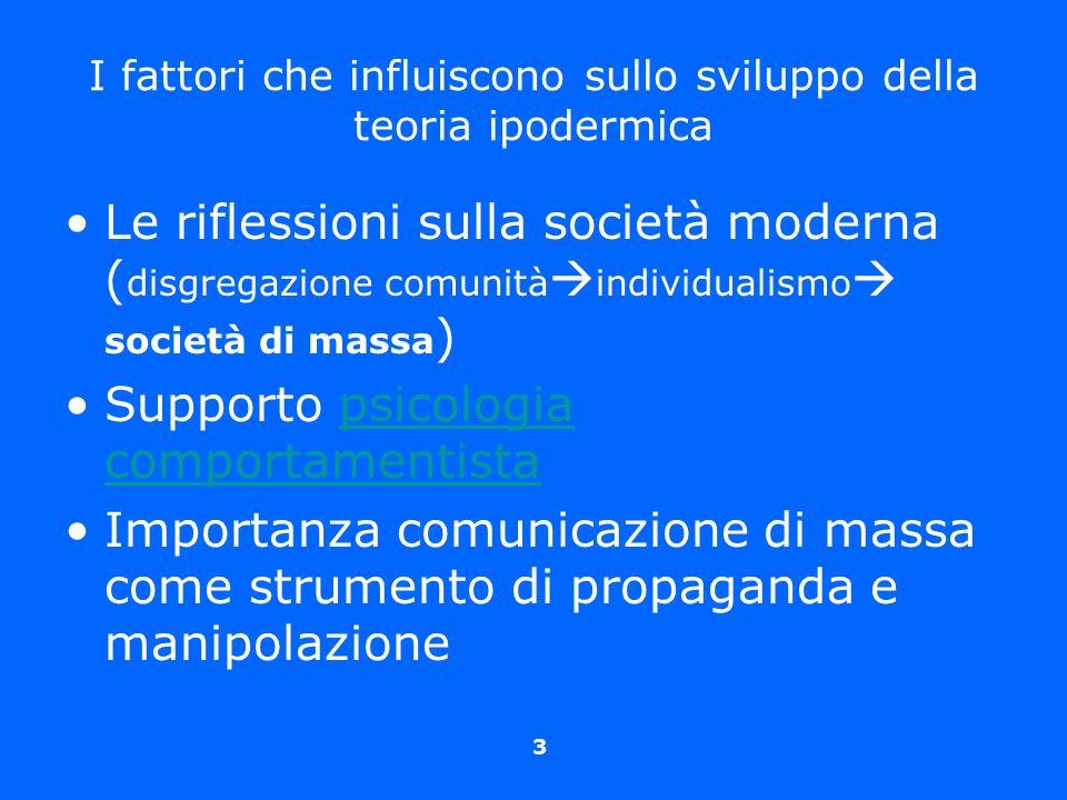 3 I fattori che influiscono sullo sviluppo della teoria ipodermica Le riflessioni sulla società moderna ( disgregazione comunità  individualismo  so