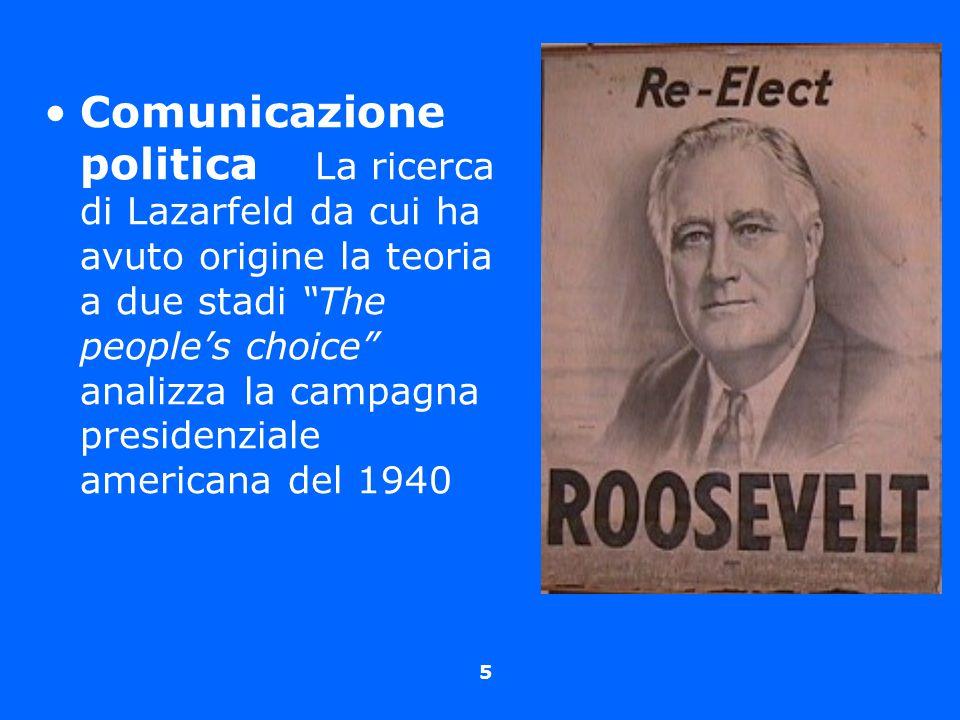 """5 Comunicazione politica La ricerca di Lazarfeld da cui ha avuto origine la teoria a due stadi """"The people's choice"""" analizza la campagna presidenzial"""