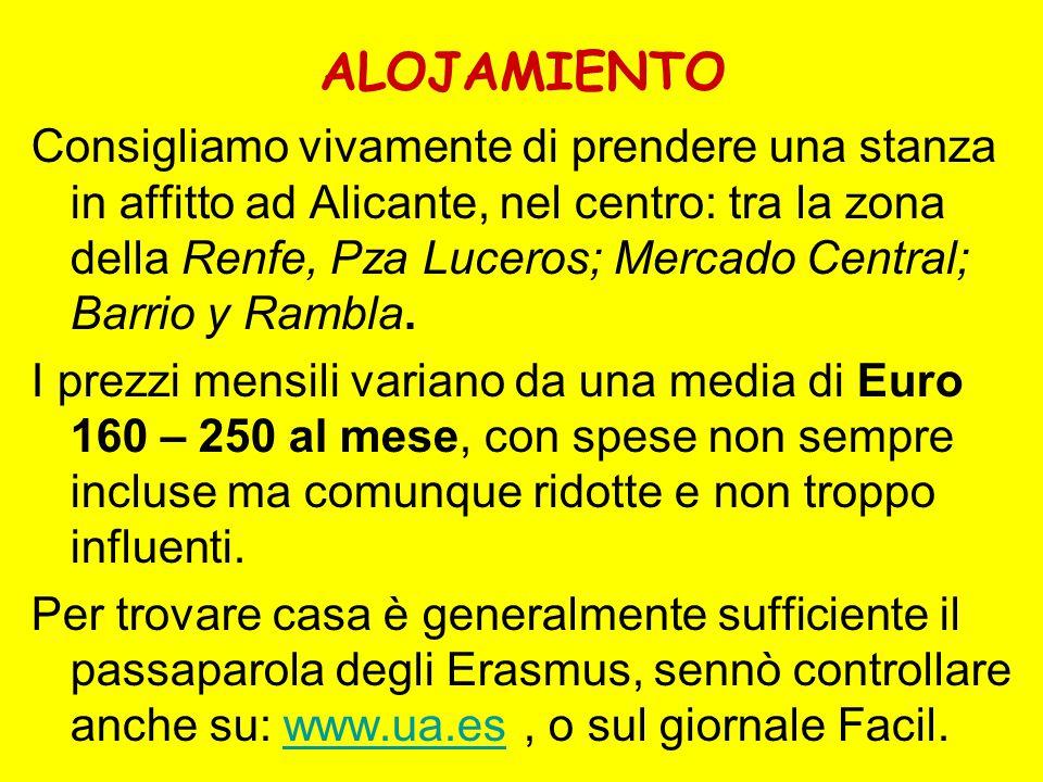 ALOJAMIENTO Consigliamo vivamente di prendere una stanza in affitto ad Alicante, nel centro: tra la zona della Renfe, Pza Luceros; Mercado Central; Barrio y Rambla.