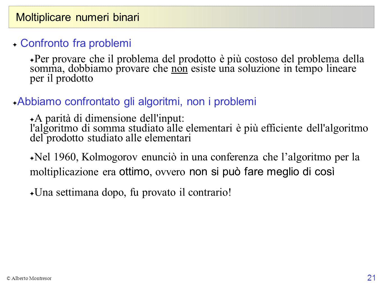 21 © Alberto Montresor Moltiplicare numeri binari ✦ Confronto fra problemi ✦ Per provare che il problema del prodotto è più costoso del problema della