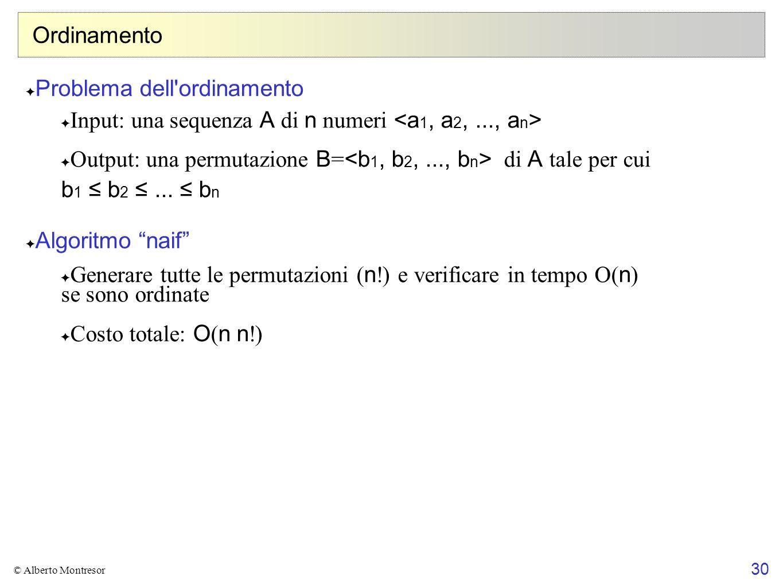 30 © Alberto Montresor Ordinamento ✦ Problema dell'ordinamento ✦ Input: una sequenza A di n numeri ✦ Output: una permutazione B = di A tale per cui b