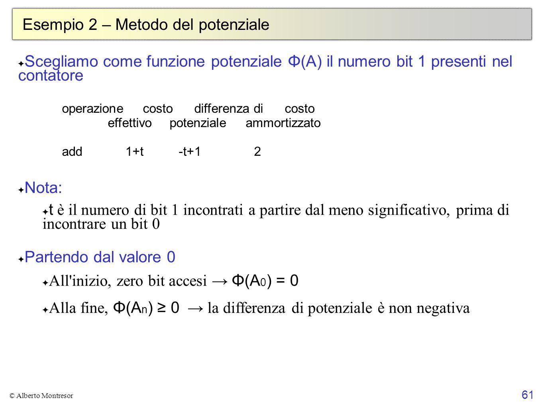 61 © Alberto Montresor Esempio 2 – Metodo del potenziale ✦ Scegliamo come funzione potenziale Φ(A) il numero bit 1 presenti nel contatore ✦ Nota: ✦ t