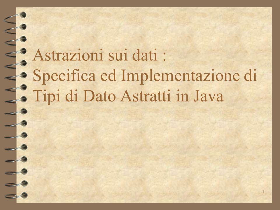 2 Specifica ed Implementazione di Tipi di Dato Astratti in Java 4 cos'è un tipo di dato astratto 4 specifica di tipi di dati astratti –un tipo modificabile ( IntSet ) –qualche tipo primitivo –un tipo non modificabile ( Poly ) 4 implementazione di tipi di dati astratti –definire la rappresentazione le restrizioni nell'uso di Java un record type (l'eccezione!) –l'implementazione di IntSet e Poly 4 alcuni metodi ereditabili