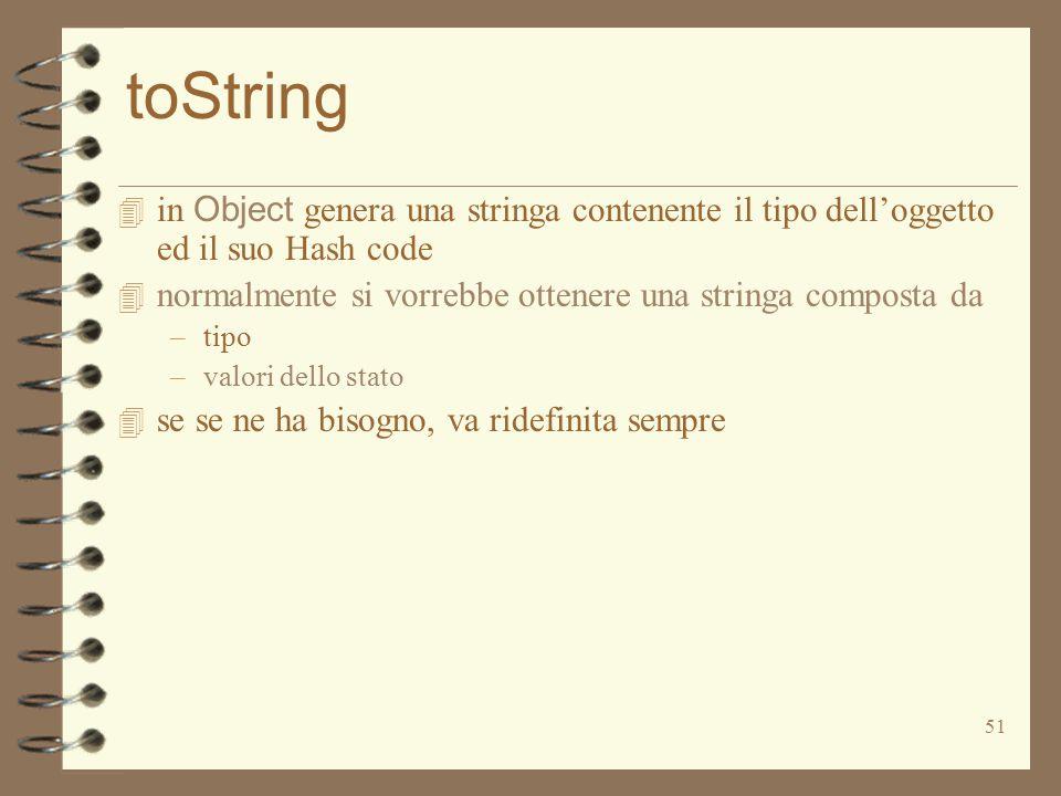 51 toString  in Object genera una stringa contenente il tipo dell'oggetto ed il suo Hash code 4 normalmente si vorrebbe ottenere una stringa composta da –tipo –valori dello stato 4 se se ne ha bisogno, va ridefinita sempre
