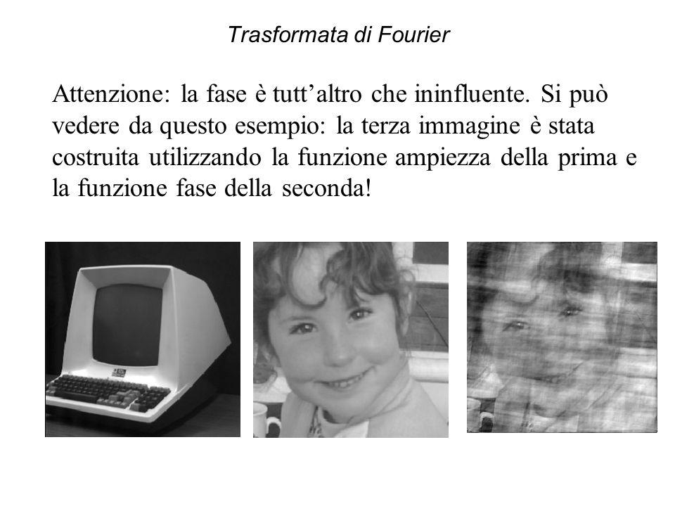 Trasformata di Fourier Attenzione: la fase è tutt'altro che ininfluente. Si può vedere da questo esempio: la terza immagine è stata costruita utilizza