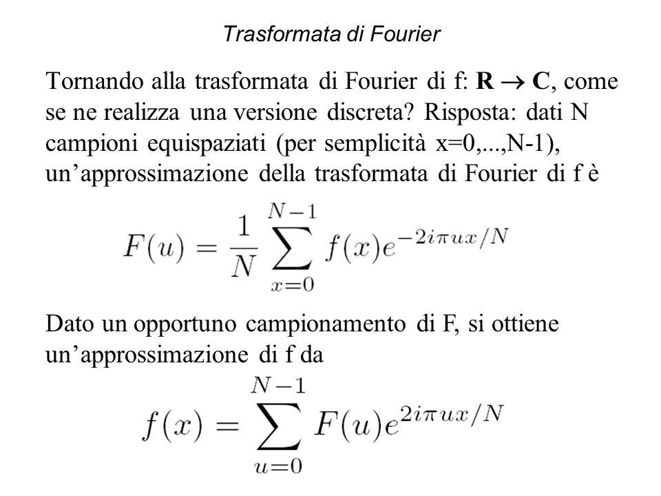 Trasformata di Fourier Tornando alla trasformata di Fourier di f: R  C, come se ne realizza una versione discreta? Risposta: dati N campioni equispaz