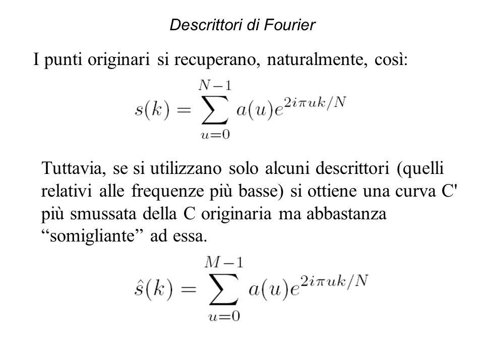 Descrittori di Fourier I punti originari si recuperano, naturalmente, così: Tuttavia, se si utilizzano solo alcuni descrittori (quelli relativi alle f
