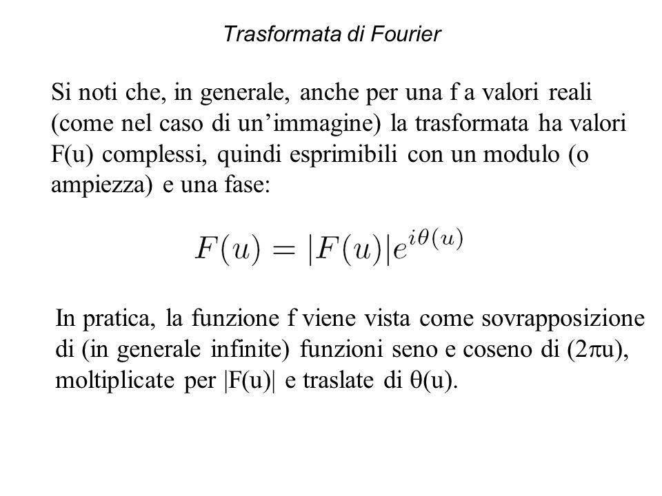 Trasformata di Fourier Si noti che, in generale, anche per una f a valori reali (come nel caso di un'immagine) la trasformata ha valori F(u) complessi, quindi esprimibili con un modulo (o ampiezza) e una fase: In pratica, la funzione f viene vista come sovrapposizione di (in generale infinite) funzioni seno e coseno di (2  u), moltiplicate per  F(u)  e traslate di  (u).