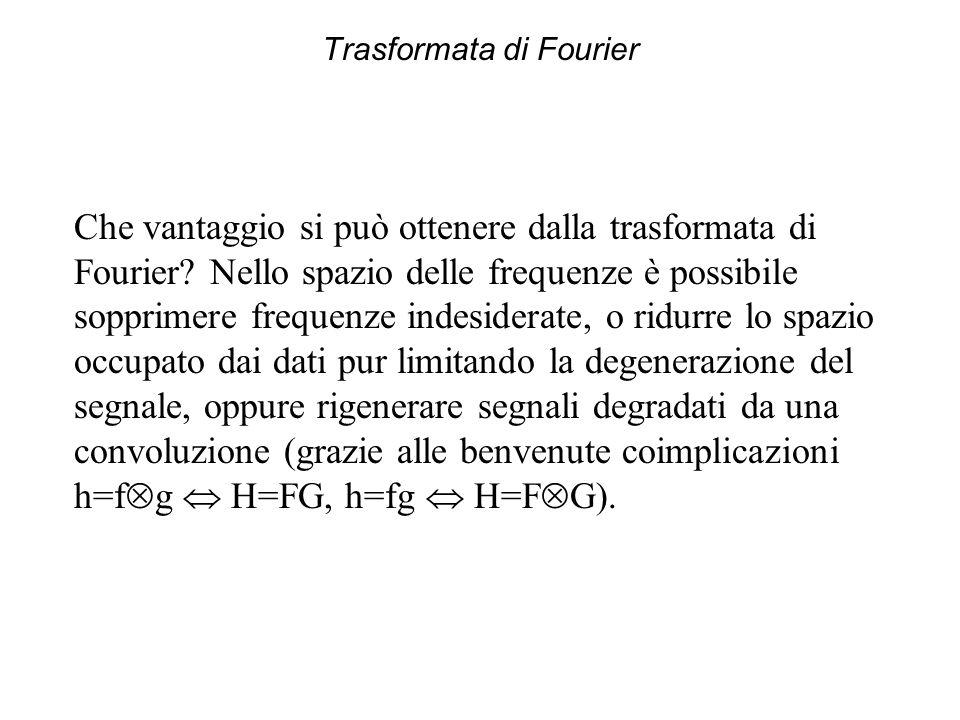 Trasformata di Fourier Che vantaggio si può ottenere dalla trasformata di Fourier? Nello spazio delle frequenze è possibile sopprimere frequenze indes