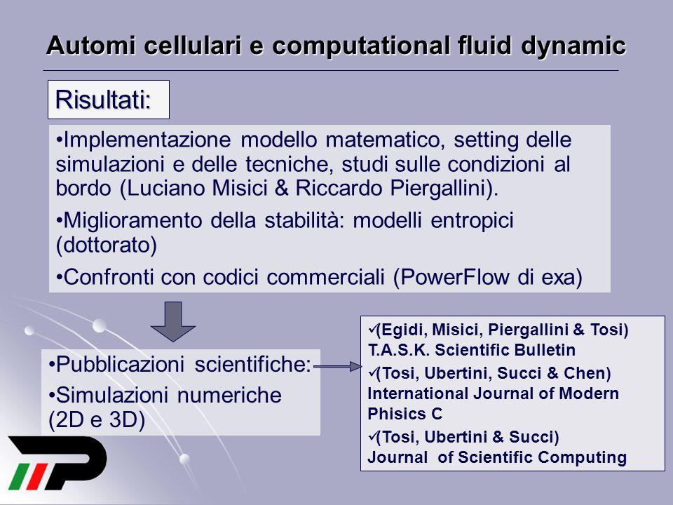 Automi cellulari e computational fluid dynamic Risultati: Implementazione modello matematico, setting delle simulazioni e delle tecniche, studi sulle