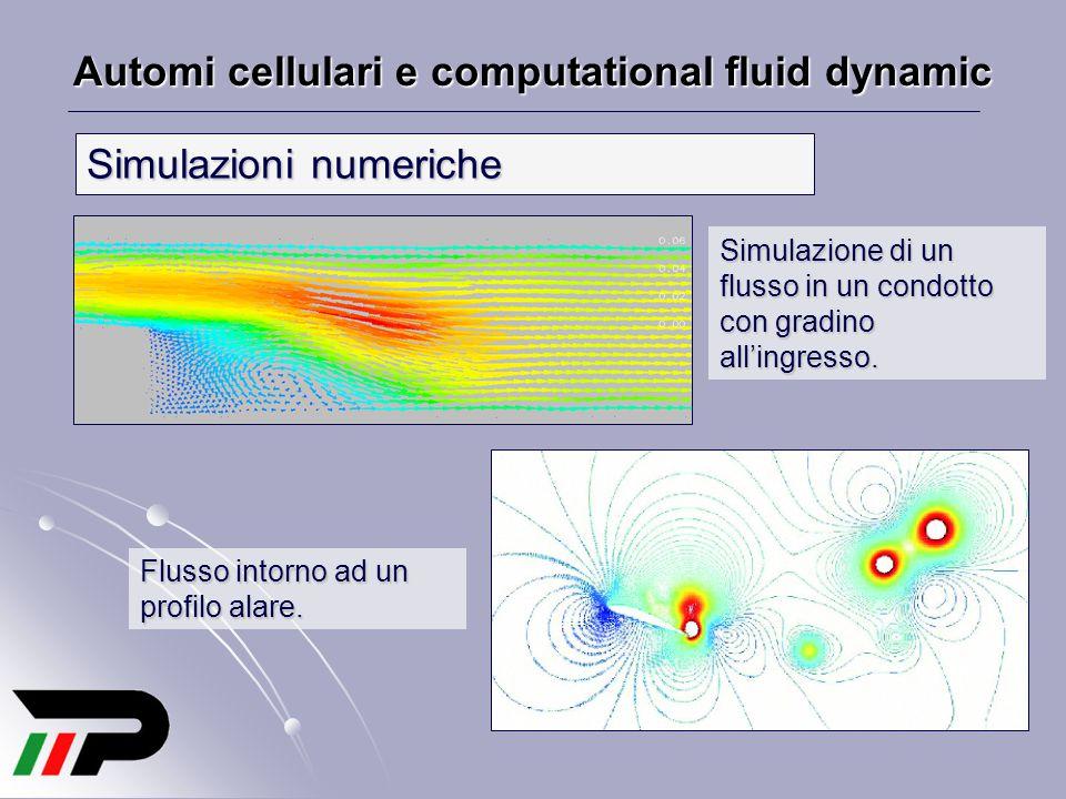 Automi cellulari e computational fluid dynamic Simulazioni numeriche Simulazione di un flusso in un condotto con gradino all'ingresso. Flusso intorno