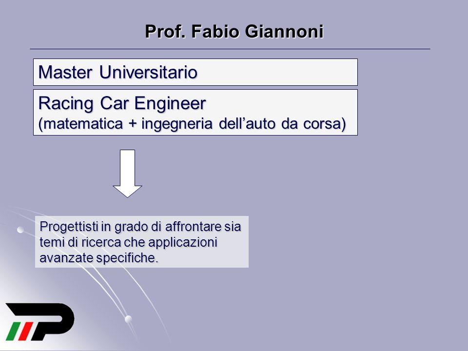 Prof. Fabio Giannoni Racing Car Engineer (matematica + ingegneria dell'auto da corsa) Progettisti in grado di affrontare sia temi di ricerca che appli
