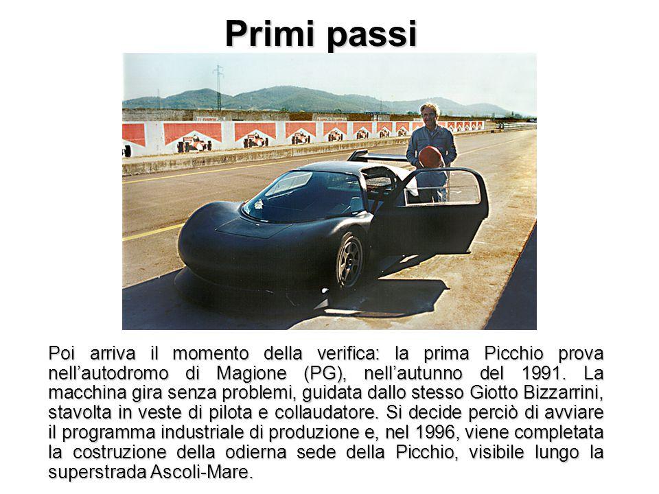 Primi passi Poi arriva il momento della verifica: la prima Picchio prova nell'autodromo di Magione (PG), nell'autunno del 1991. La macchina gira senza