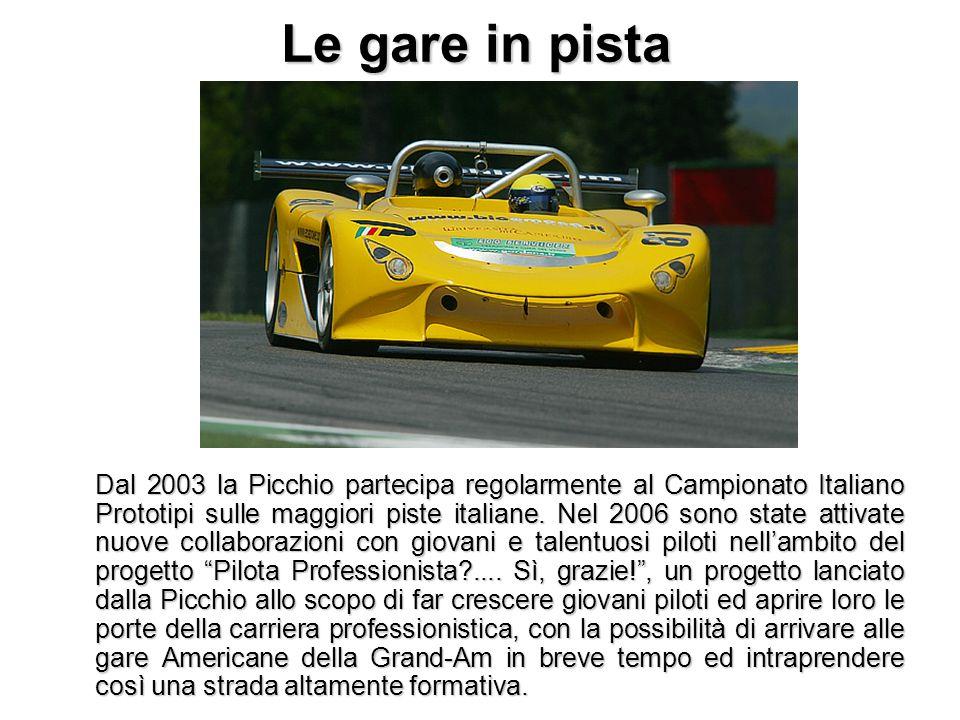 Le gare in pista Dal 2003 la Picchio partecipa regolarmente al Campionato Italiano Prototipi sulle maggiori piste italiane. Nel 2006 sono state attiva