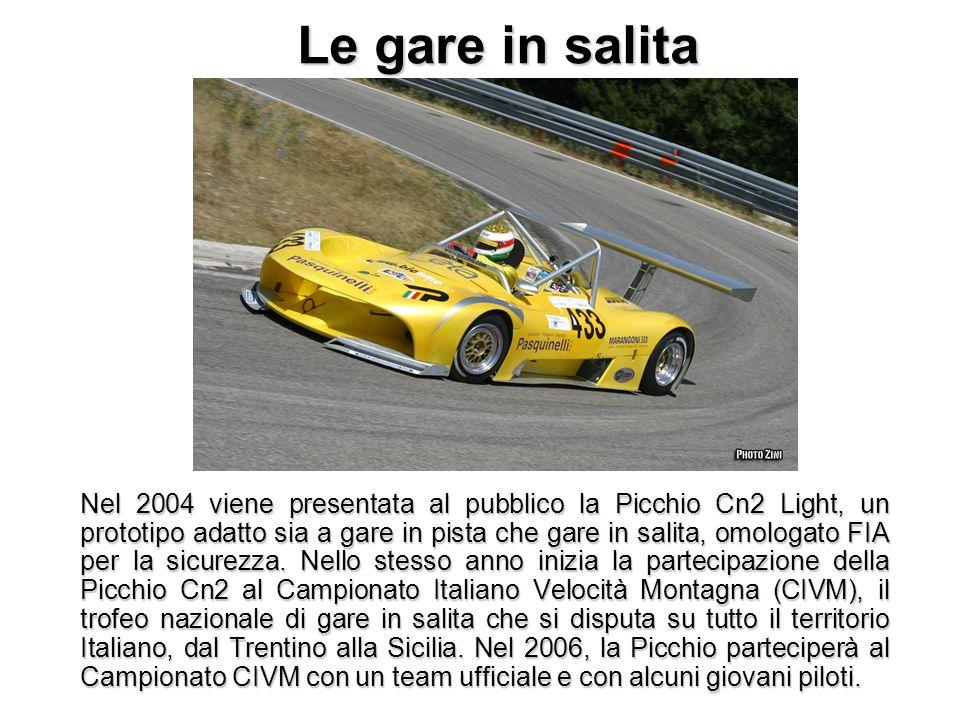 Le gare in salita Nel 2004 viene presentata al pubblico la Picchio Cn2 Light, un prototipo adatto sia a gare in pista che gare in salita, omologato FI
