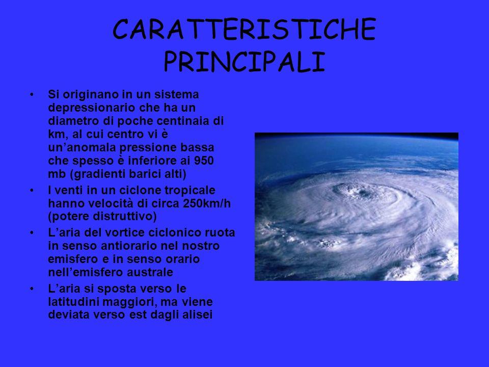 CARATTERISTICHE PRINCIPALI Si originano in un sistema depressionario che ha un diametro di poche centinaia di km, al cui centro vi è un'anomala pressi