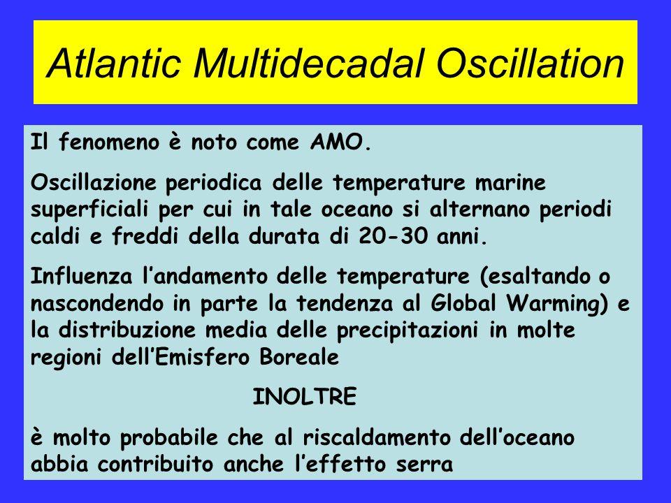 Atlantic Multidecadal Oscillation Il fenomeno è noto come AMO. Oscillazione periodica delle temperature marine superficiali per cui in tale oceano si