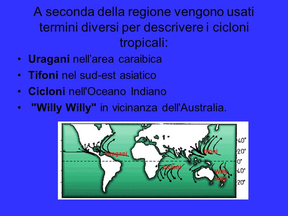A seconda della regione vengono usati termini diversi per descrivere i cicloni tropicali: Uragani nell'area caraibica Tifoni nel sud-est asiatico Cicl