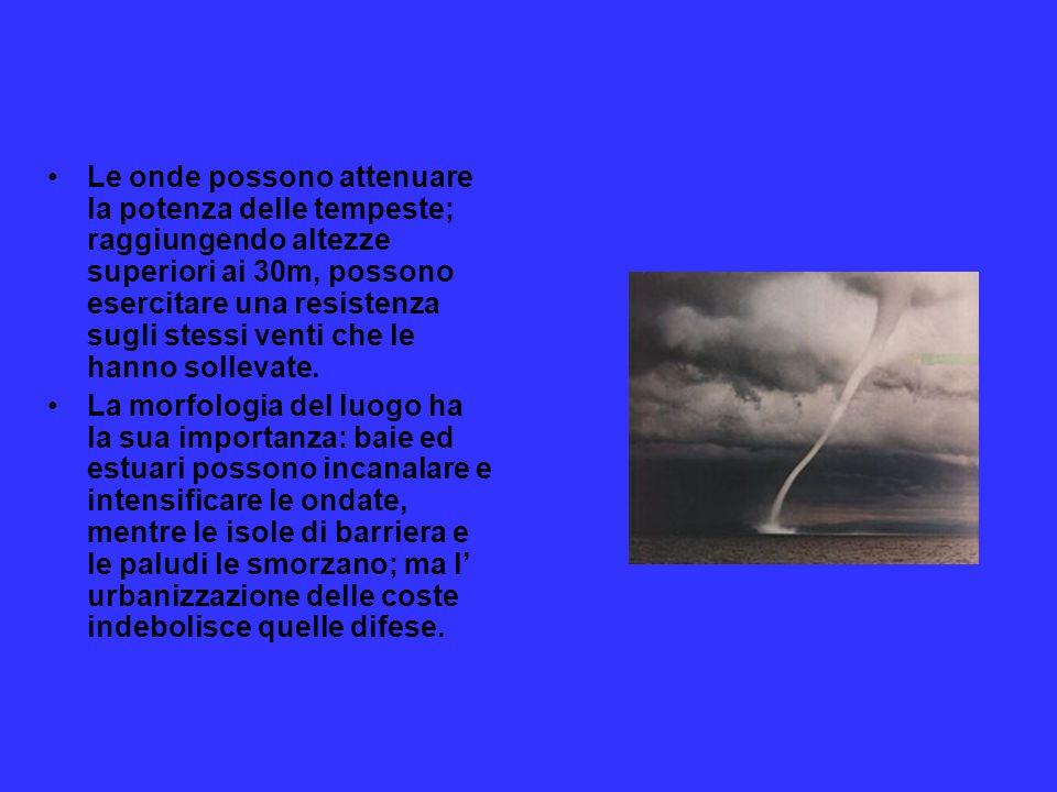 Le onde possono attenuare la potenza delle tempeste; raggiungendo altezze superiori ai 30m, possono esercitare una resistenza sugli stessi venti che l