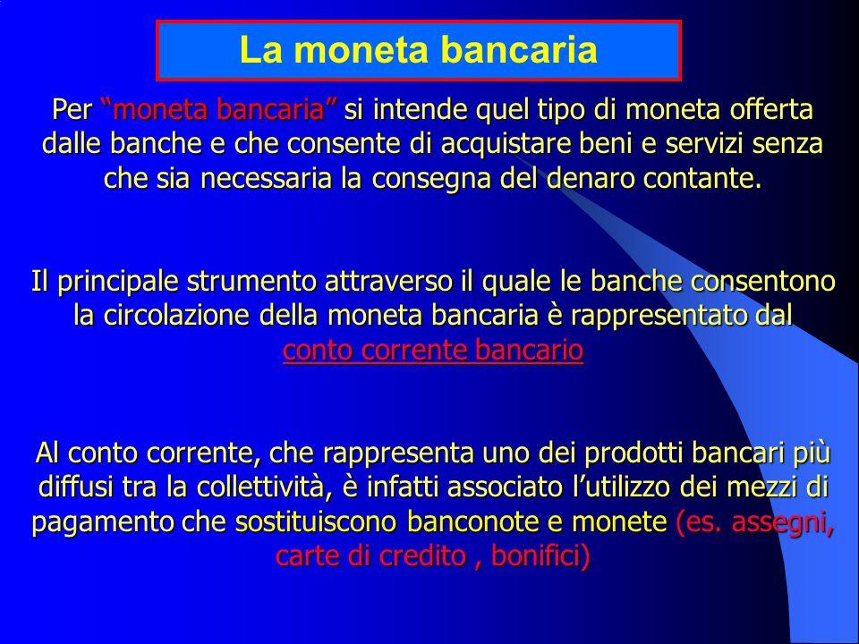 Per moneta bancaria si intende quel tipo di moneta offerta dalle banche e che consente di acquistare beni e servizi senza che sia necessaria la consegna del denaro contante.