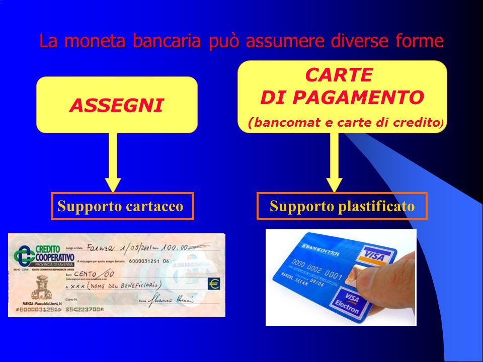 La moneta bancaria può assumere diverse forme ASSEGNI CARTE DI PAGAMENTO (bancomat e carte di credito ) Supporto cartaceoSupporto plastificato