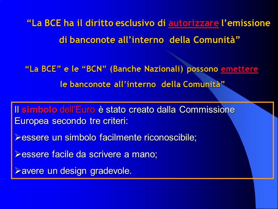 La BCE ha il diritto esclusivo di autorizzare l'emissione di banconote all'interno della Comunità di banconote all'interno della Comunità Il simbolo dell'Euro è stato creato dalla Commissione Europea secondo tre criteri:  essere un simbolo facilmente riconoscibile;  essere facile da scrivere a mano;  avere un design gradevole.