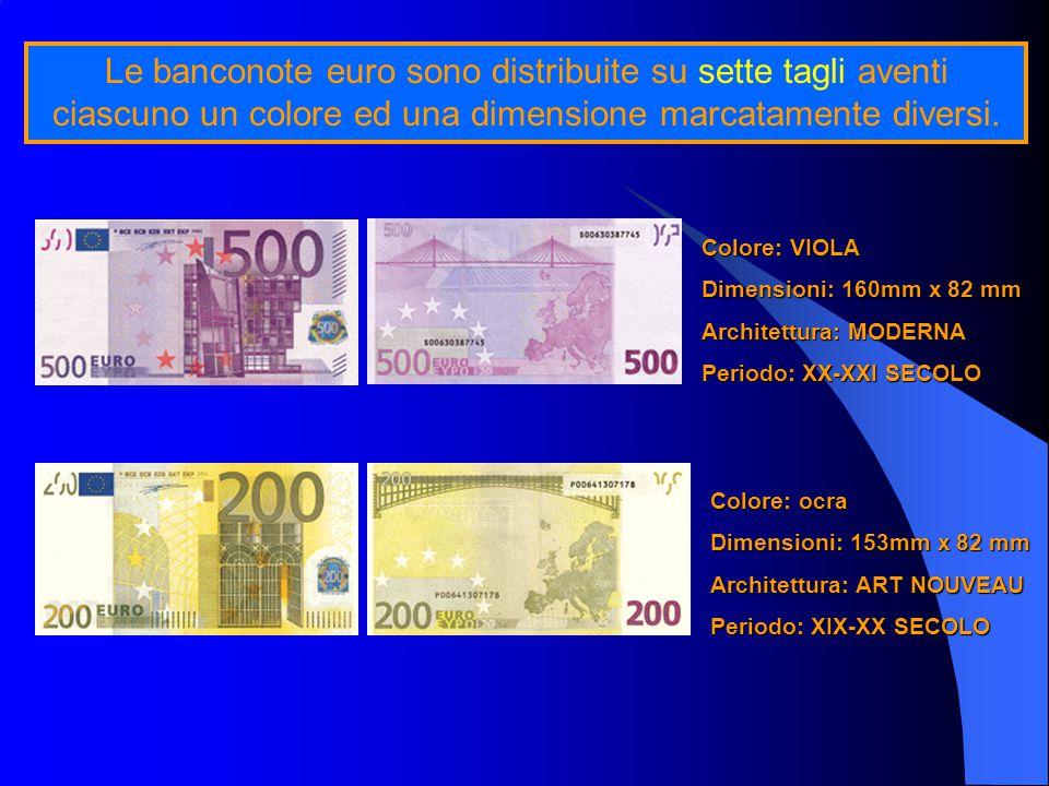 Le banconote euro sono distribuite su sette tagli aventi ciascuno un colore ed una dimensione marcatamente diversi.