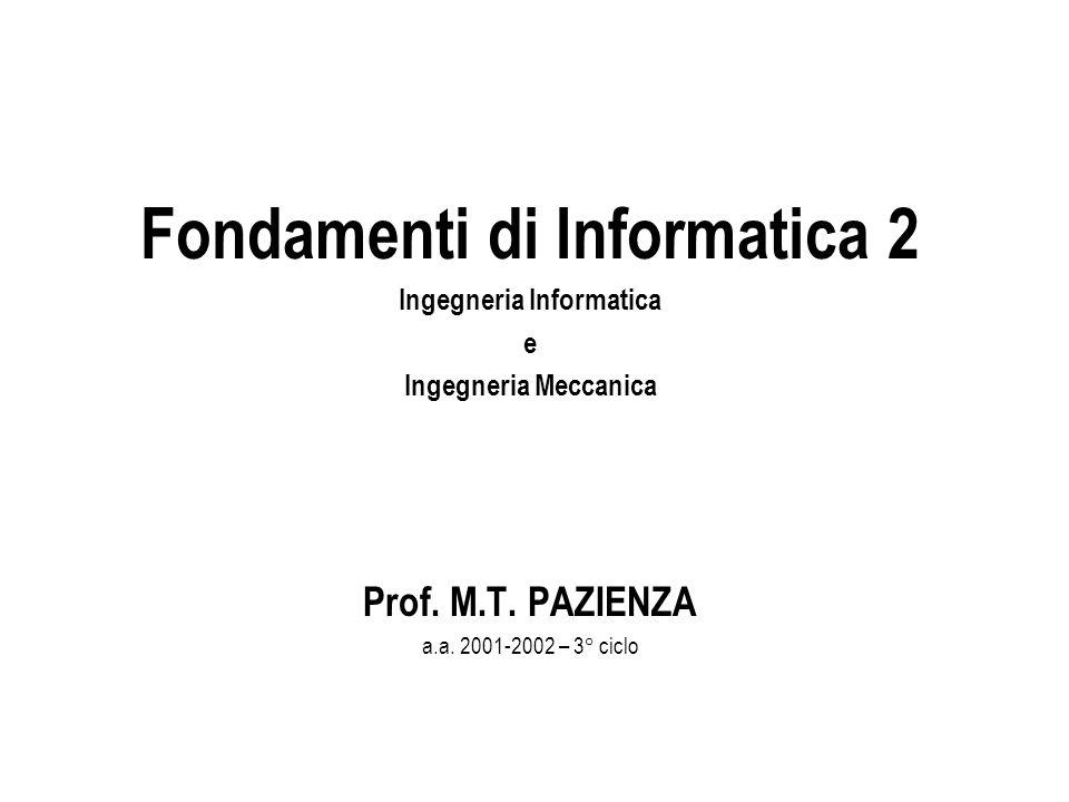 Fondamenti di Informatica 2 Ingegneria Informatica e Ingegneria Meccanica Prof.