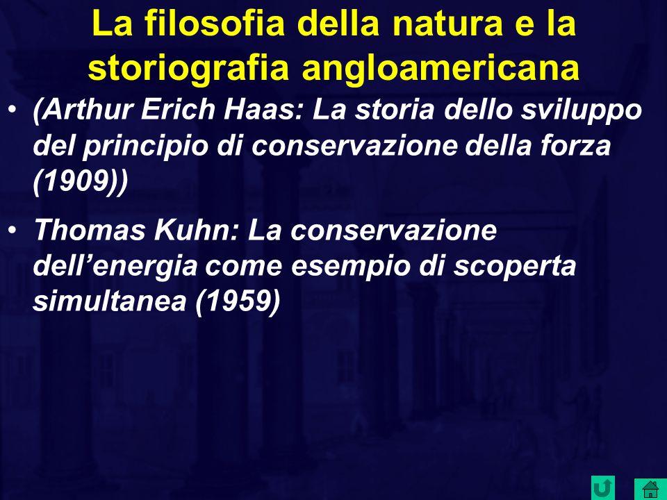 La filosofia della natura e la storiografia angloamericana (Arthur Erich Haas: La storia dello sviluppo del principio di conservazione della forza (1909)) Thomas Kuhn: La conservazione dell'energia come esempio di scoperta simultanea (1959)