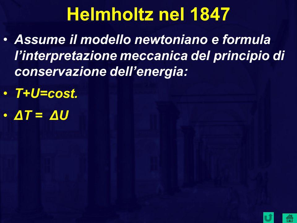 Helmholtz nel 1847 Assume il modello newtoniano e formula l'interpretazione meccanica del principio di conservazione dell'energia: T+U=cost.