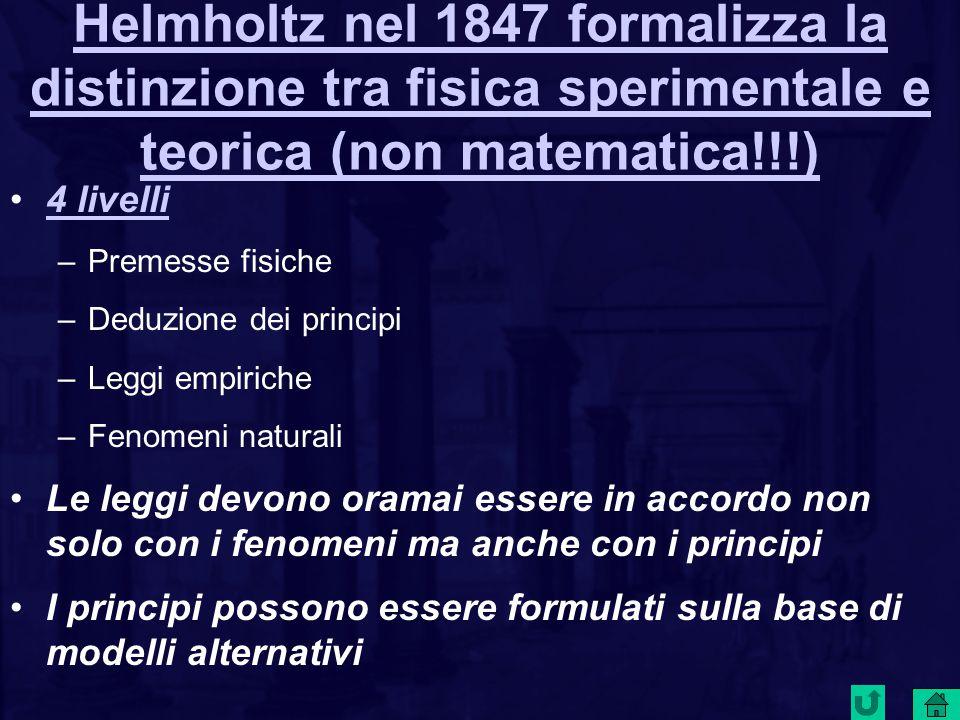 Helmholtz nel 1847 formalizza la distinzione tra fisica sperimentale e teorica (non matematica!!!) 4 livelli –Premesse fisiche –Deduzione dei principi –Leggi empiriche –Fenomeni naturali Le leggi devono oramai essere in accordo non solo con i fenomeni ma anche con i principi I principi possono essere formulati sulla base di modelli alternativi