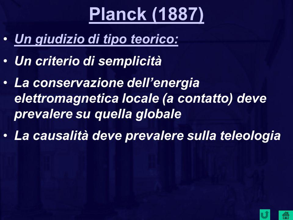 Planck (1887) Un giudizio di tipo teorico: Un criterio di semplicità La conservazione dell'energia elettromagnetica locale (a contatto) deve prevalere su quella globale La causalità deve prevalere sulla teleologia