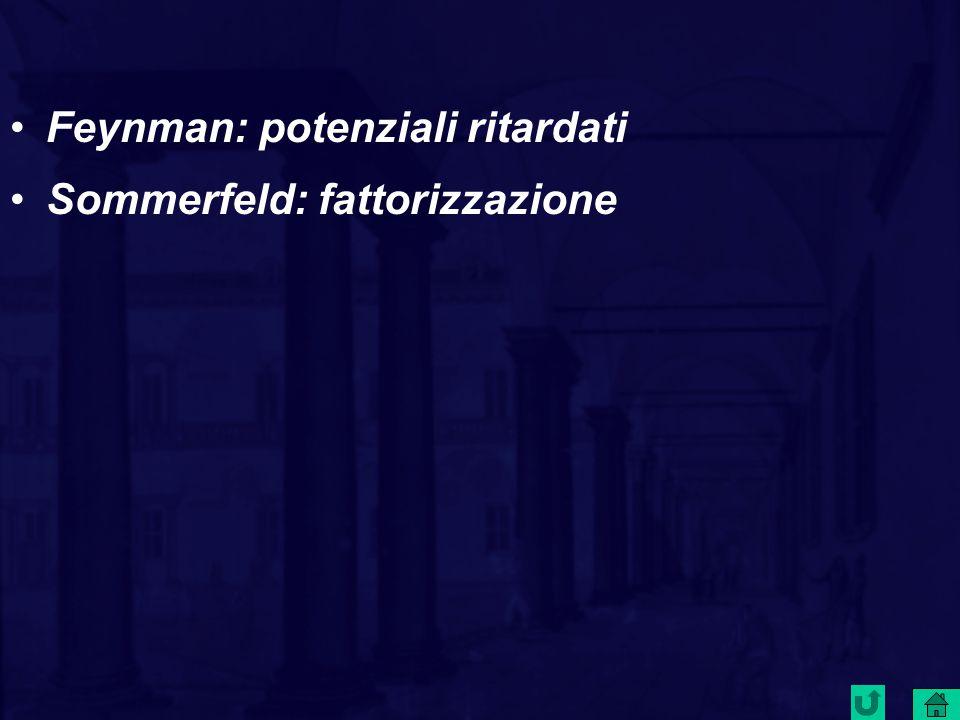 Feynman: potenziali ritardati Sommerfeld: fattorizzazione