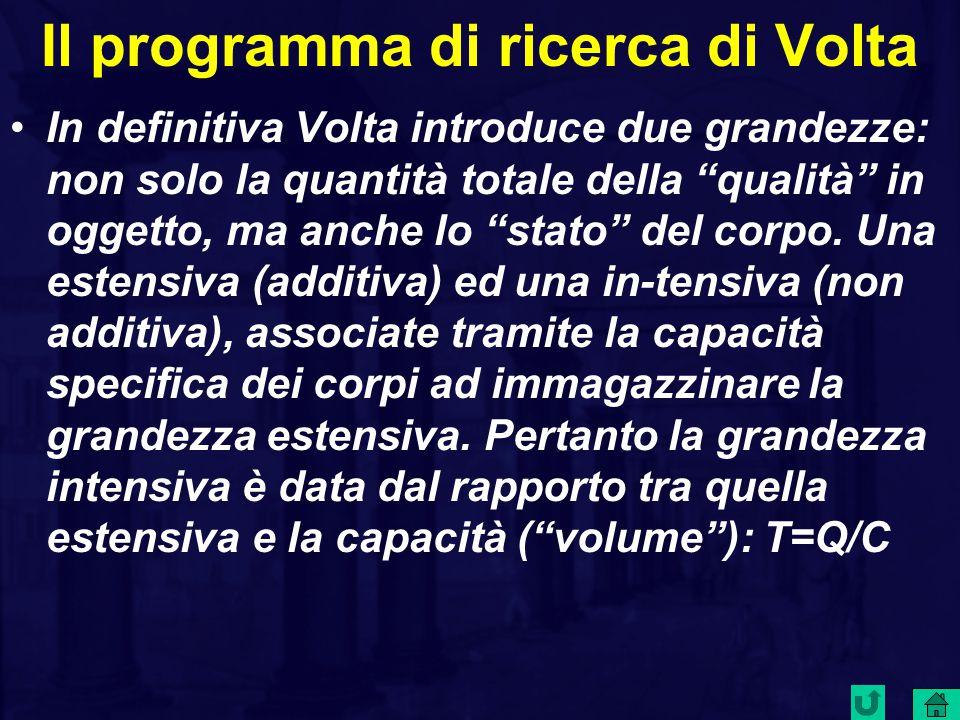 Il programma di ricerca di Volta In definitiva Volta introduce due grandezze: non solo la quantità totale della qualità in oggetto, ma anche lo stato del corpo.