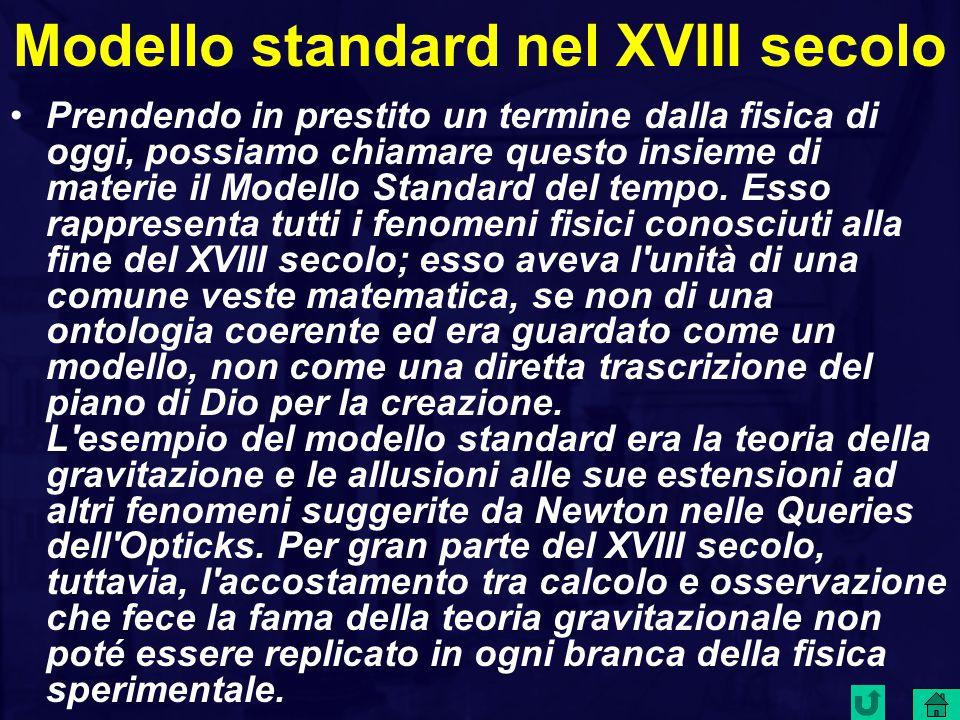 Modello standard nel XVIII secolo Prendendo in prestito un termine dalla fisica di oggi, possiamo chiamare questo insieme di materie il Modello Standard del tempo.