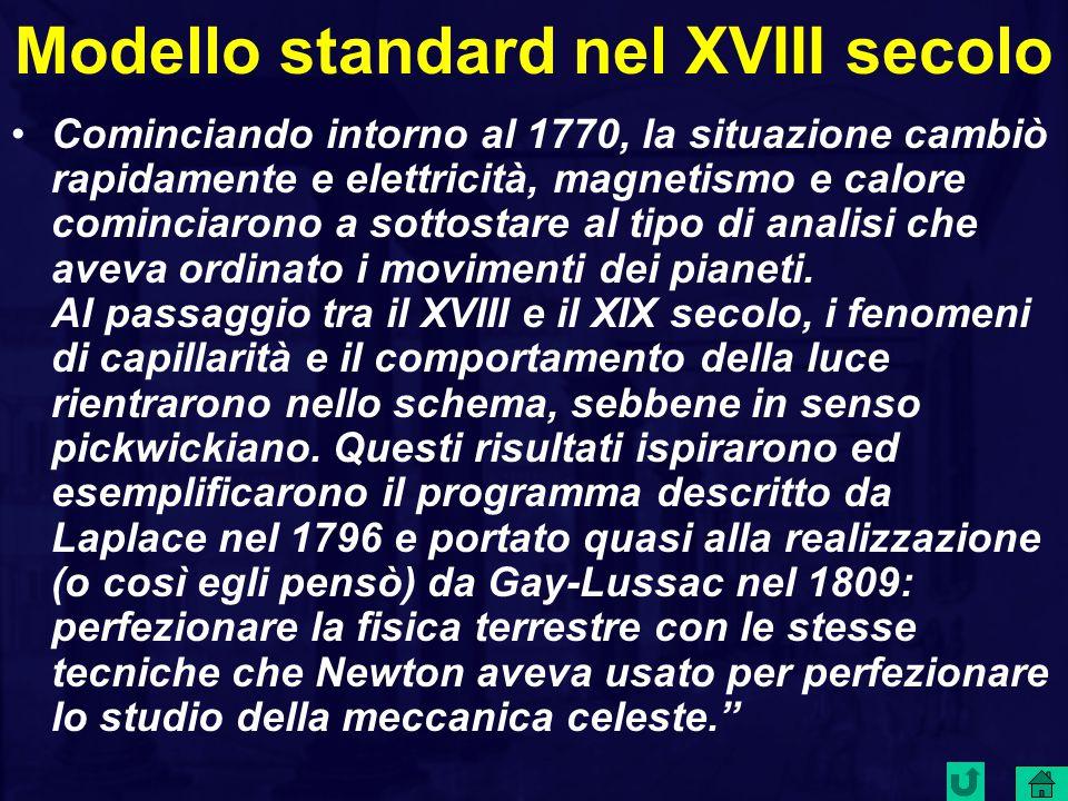 Modello standard nel XVIII secolo Cominciando intorno al 1770, la situazione cambiò rapidamente e elettricità, magnetismo e calore cominciarono a sottostare al tipo di analisi che aveva ordinato i movimenti dei pianeti.