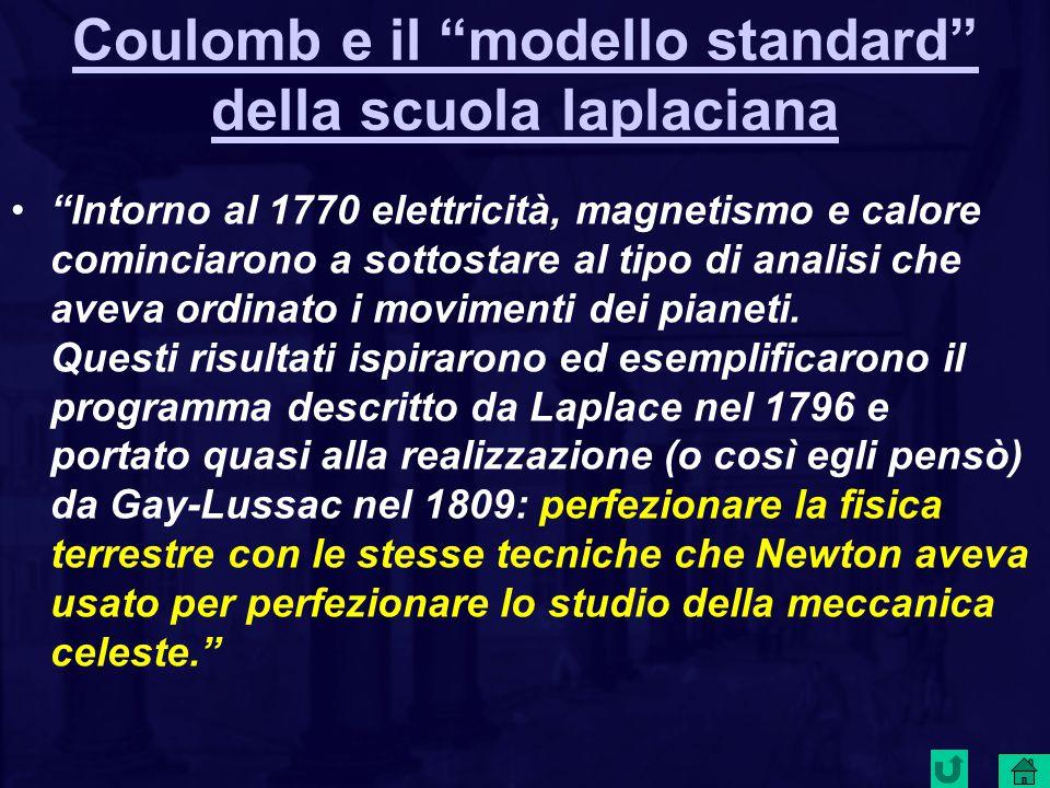 Coulomb e il modello standard della scuola laplaciana Intorno al 1770 elettricità, magnetismo e calore cominciarono a sottostare al tipo di analisi che aveva ordinato i movimenti dei pianeti.