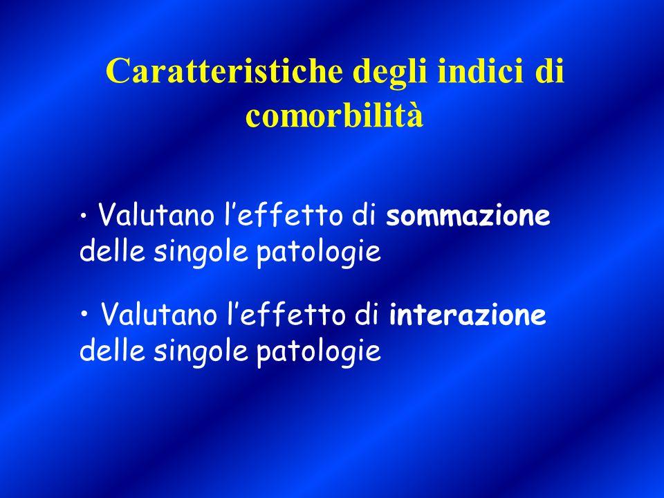 Caratteristiche degli indici di comorbilità Valutano l'effetto di sommazione delle singole patologie Valutano l'effetto di interazione delle singole p