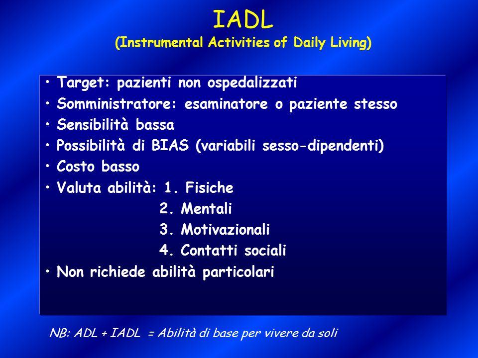 IADL (Instrumental Activities of Daily Living) Target: pazienti non ospedalizzati Somministratore: esaminatore o paziente stesso Sensibilità bassa Pos