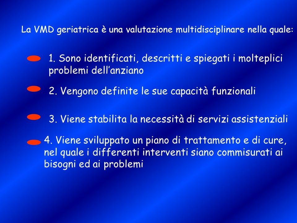 La VMD geriatrica è una valutazione multidisciplinare nella quale: 1. Sono identificati, descritti e spiegati i molteplici problemi dell'anziano 2. Ve