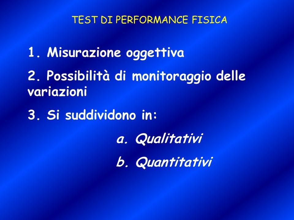 TEST DI PERFORMANCE FISICA 1. Misurazione oggettiva 2. Possibilità di monitoraggio delle variazioni 3. Si suddividono in: a. Qualitativi b. Quantitati