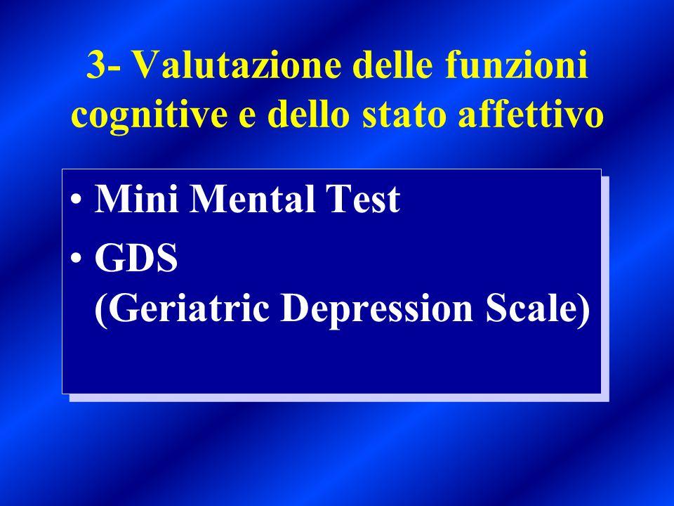 3- Valutazione delle funzioni cognitive e dello stato affettivo Mini Mental Test GDS (Geriatric Depression Scale) Mini Mental Test GDS (Geriatric Depr