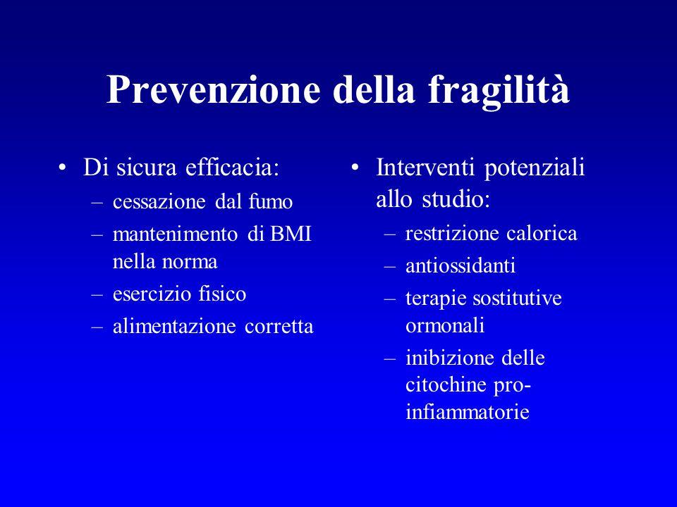 Prevenzione della fragilità Di sicura efficacia: –cessazione dal fumo –mantenimento di BMI nella norma –esercizio fisico –alimentazione corretta Inter
