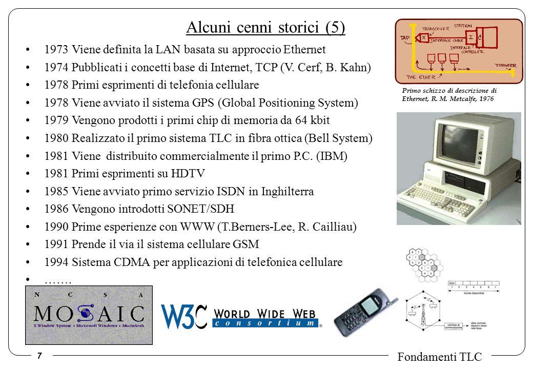 7 Fondamenti TLC Alcuni cenni storici (5) 1973 Viene definita la LAN basata su approccio Ethernet 1974 Pubblicati i concetti base di Internet, TCP (V.
