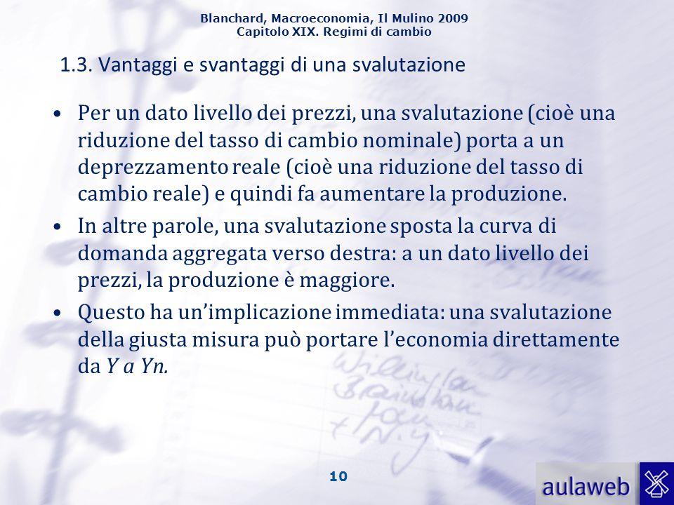 Blanchard, Macroeconomia, Il Mulino 2009 Capitolo XIX. Regimi di cambio 10 1.3. Vantaggi e svantaggi di una svalutazione Per un dato livello dei prezz