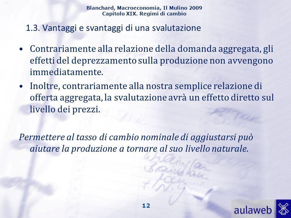 Blanchard, Macroeconomia, Il Mulino 2009 Capitolo XIX. Regimi di cambio 12 1.3. Vantaggi e svantaggi di una svalutazione Contrariamente alla relazione