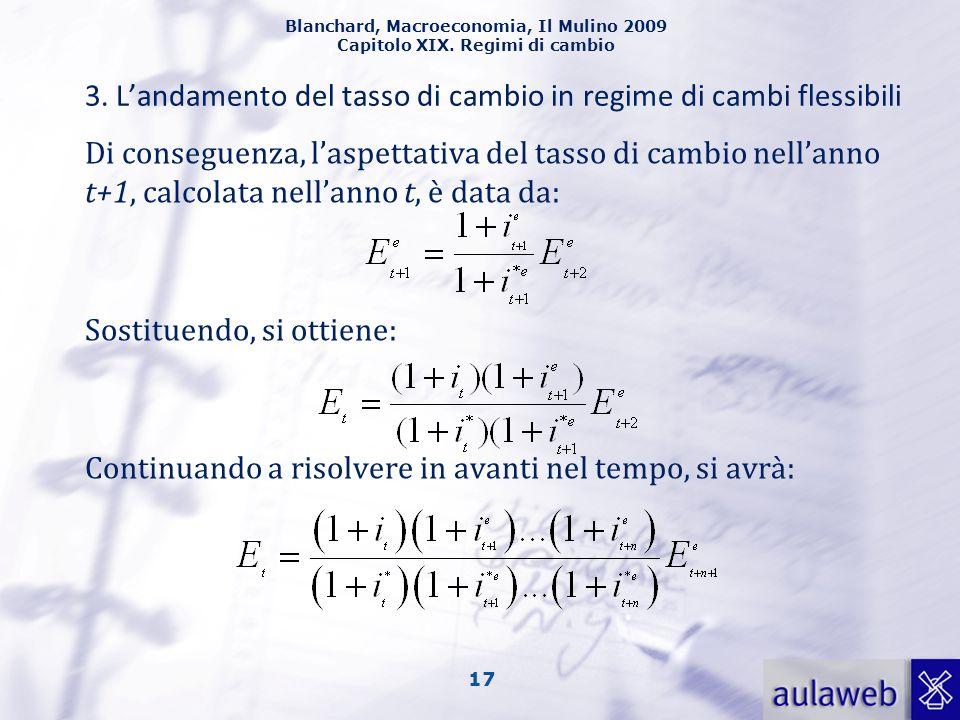 Blanchard, Macroeconomia, Il Mulino 2009 Capitolo XIX. Regimi di cambio 17 3. L'andamento del tasso di cambio in regime di cambi flessibili Di consegu