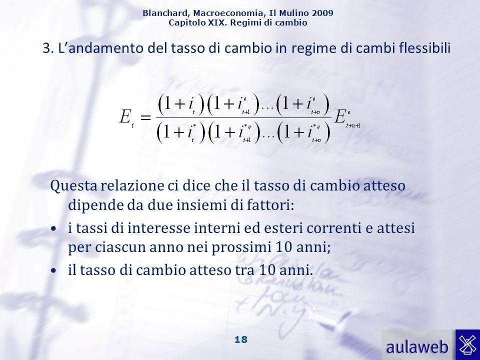 Blanchard, Macroeconomia, Il Mulino 2009 Capitolo XIX. Regimi di cambio 18 3. L'andamento del tasso di cambio in regime di cambi flessibili Questa rel